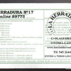 Billets ONCE: LOTERÍA NACIONAL - ADMINISTRACIÓN Nº 17 DE VITORIA - SORTEO 6/20 -. Lote 242924705