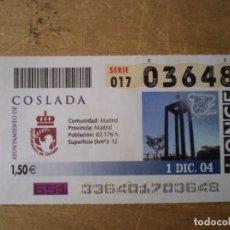 Cupones ONCE: ONCE 1 DICIEMBRE 2004 AYUNTAMIENTO DE COSLADA. Lote 243233055