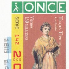 Cupones ONCE: 1996 - CUPON ONCE - TRAJES TIPICOS - CASTELLON - Nº 20170. Lote 244469955