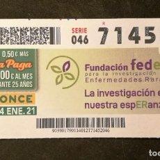 Cupones ONCE: Nº 71452 (14/ENERO/2021). Lote 244518395