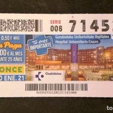 Cupones ONCE: Nº 71453 (20/ENERO/2021). Lote 244518455