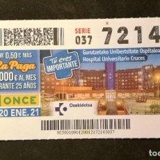 Cupones ONCE: Nº 72145 (20/ENERO/2021). Lote 244518605
