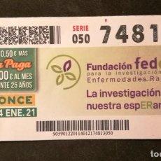Cupones ONCE: Nº 74813 (14/ENERO/2021). Lote 244518850