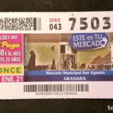 Cupones ONCE: Nº 75034 (19/ENERO/2021). Lote 244518900
