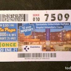 Cupones ONCE: Nº 75091 (20/ENERO/2021). Lote 244518965