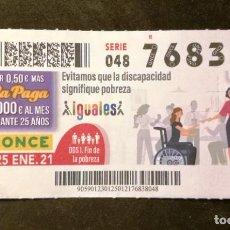 Cupones ONCE: Nº 76838 (25/ENERO/2021). Lote 244519150