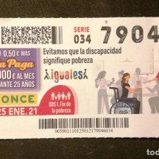 Cupones ONCE: Nº 79046 (25/ENERO/2021). Lote 244519360