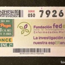Cupones ONCE: Nº 79267 (14/ENERO/2021). Lote 244519425