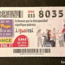 Cupones ONCE: Nº 80354 (25/ENERO/2021). Lote 244519970