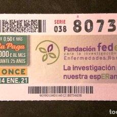 Cupones ONCE: Nº 80734 (14/ENERO/2021). Lote 244520090