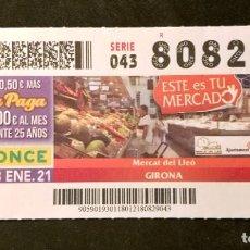 Cupones ONCE: Nº 80829 (18/ENERO/2021). Lote 244520165