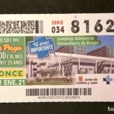 Cupones ONCE: Nº 81629 (21/ENERO/2021). Lote 244520280