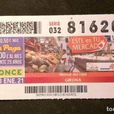 Cupones ONCE: Nº 81620 (18/ENERO/2021). Lote 244520380