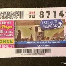 Billets ONCE: Nº 87142 (19/ENERO/2021)-GRANADA. Lote 244584665