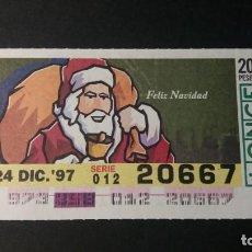 Cupones ONCE: CUPÓN ONCE. FELIZ NAVIDAD 24 DE DICIEMBRE DE 1997. Nº 20667.. Lote 245367210