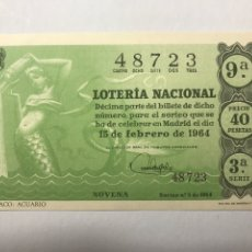 Cupones ONCE: LOTERIA AÑO 1964 SORTEO 5. Lote 246242890