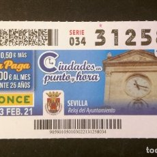 Cupones ONCE: Nº 31258 (3/FEBRERO/2021)-SEVILLA. Lote 246325170