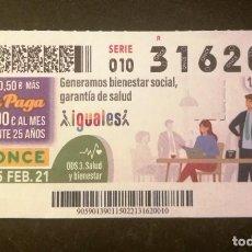 Cupones ONCE: Nº 31620 (15/FEBRERO/2021). Lote 246325390