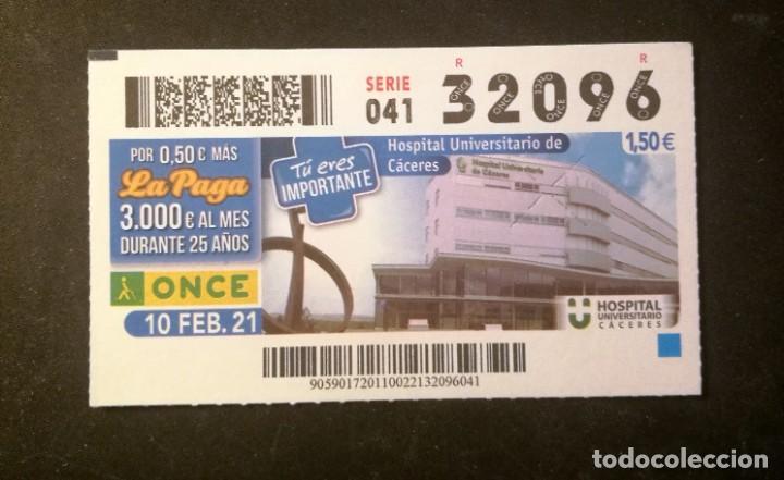 Nº 32096 (10/FEBRERO/2021)-CÁCERES (Coleccionismo - Lotería - Cupones ONCE)