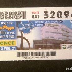 Cupones ONCE: Nº 32096 (10/FEBRERO/2021)-CÁCERES. Lote 246325690