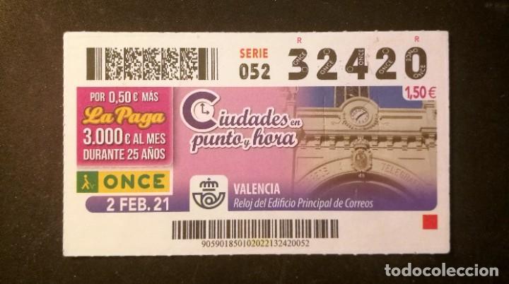 Nº 32420 (2/FEBRERO/2021)-VALENCIA (Coleccionismo - Lotería - Cupones ONCE)