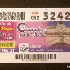 Cupones ONCE: Nº 32420 (2/FEBRERO/2021)-VALENCIA. Lote 246325775