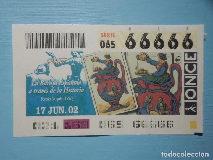 CUPÓN ONCE 2002 - 02 - 17 JUNIO - 66666 - CINCO 6 SEISES SEIS , TODOS IGUALES, CAPICUA - FOURNIER (Coleccionismo - Lotería - Cupones ONCE)
