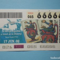 Billets ONCE: CUPÓN ONCE 2002 - 02 - 17 JUNIO - 66666 - CINCO 6 SEISES SEIS , TODOS IGUALES, CAPICUA - FOURNIER. Lote 252078410