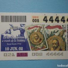 Billets ONCE: CUPÓN ONCE 2002 - 02 - 10 JUNIO - 44444 - CINCO 4 CUATROS, TODOS IGUALES, CAPICUA - BARAJA QUIJOTE. Lote 252080275