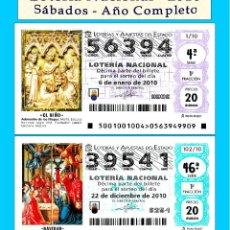 Cupones ONCE: 2010 - LOTERÍA NACIONAL / TODOS LOS SORTEOS DE LOS SÁBADOS AÑO COMPLETO / BUENA CALIDAD. Lote 255977270