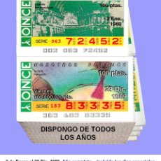 Cupones ONCE: 1989 - CUPONES DE LA ONCE / AÑO COMPLETO INCLUIDO LOS SORTEOS ESPECIALES / BUENA CALIDAD. Lote 256165930