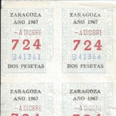 Cupones ONCE: LOTE 8 CUPONES ONCE 04-12-1967. ZARAGOZA. Lote 257397015