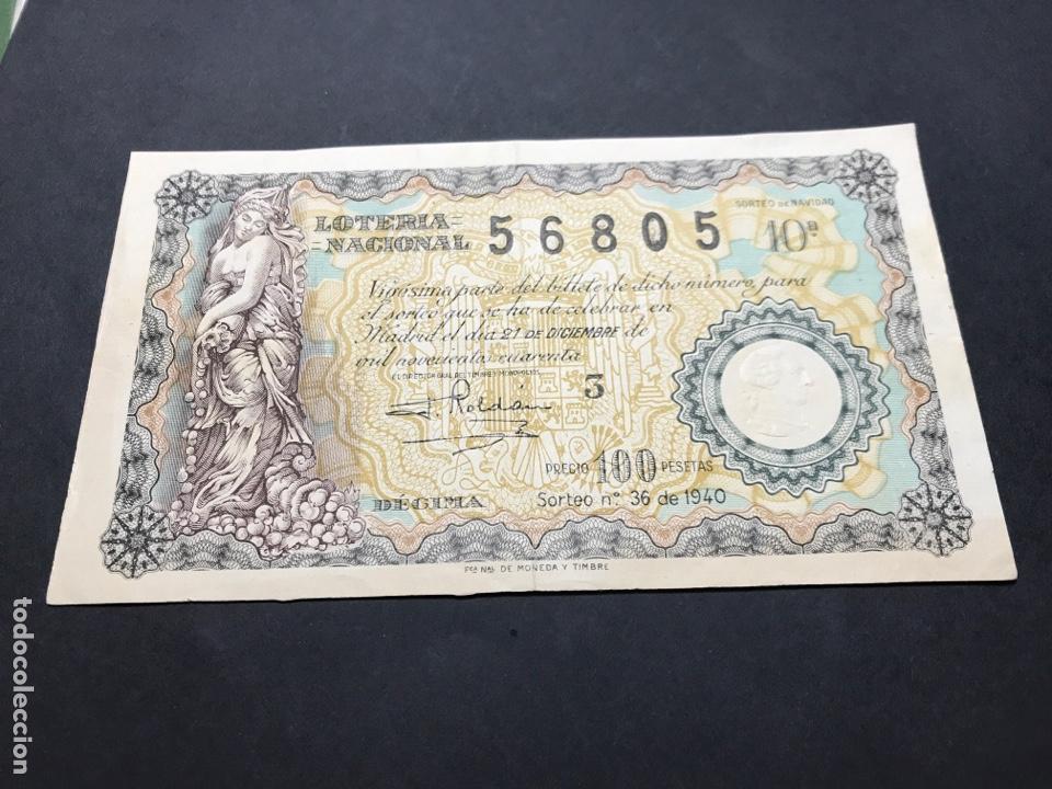 LOTERIA AÑO 1940 SORTEO 36 NAVIDAD (Coleccionismo - Lotería - Cupones ONCE)
