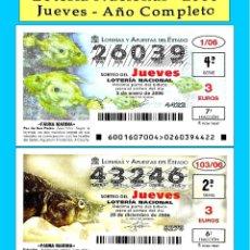 Cupones ONCE: 2006 - LOTERÍA NACIONAL / TODOS LOS SORTEOS DE LOS JUEVES AÑO COMPLETO / BUENA CALIDAD. Lote 261785475