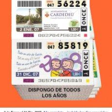 Cupones ONCE: 2007 - CUPONES DE LA ONCE / AÑO COMPLETO INCLUIDO LOS SORTEOS ESPECIALES / BUENA CALIDAD. Lote 262060065