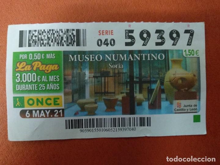 CUPON O.N.C.E. - Nº 59397- 6 MAYO 2021- MUSEO NUMANTINO- SORIA (Coleccionismo - Lotería - Cupones ONCE)
