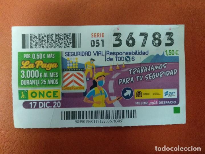 CUPON O.N.C.E. - Nº 36783- 17 DICIEMBRE 2020- SEGURIDAD VIAL (Coleccionismo - Lotería - Cupones ONCE)