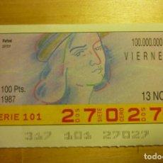 Cupones ONCE: CUPÓN DE LA ONCE VIERNES 13 DE NOVIEMBRE 1987 Nº 27027 SERIE ARTISTAS RAFAEL PINTOR. Lote 263150505