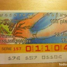 Cupones ONCE: CUPÓN ONCE VIERNES 23 JUNIO 1989 N 01104 SER. NOSOTROS PODEMOS SERVICIOS TIFLOTÉCNICOS LIBRO HABLADO. Lote 263153065