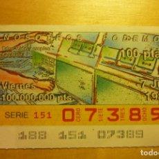 Cupones ONCE: CUPÓN DE LA ONCE VIERNES 7 DE JULIO 1989 N 07389 SERIE NOSOTROS PODEMOS EDUACIÓN Y EMPLEO CENTRALITA. Lote 263153085