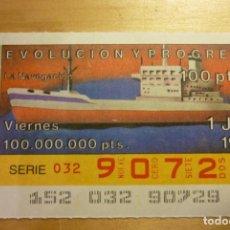 Cupones ONCE: CUPÓN DE LA ONCE VIERNES 1 DE JUNIO 1990 Nº 90729 SERIE EVOLUCIÓN Y PROGRESO LA NAVEGACIÓN. Lote 263153845