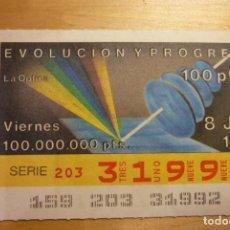 Cupones ONCE: CUPÓN DE LA ONCE VIERNES 8 DE JUNIO 1990 Nº 31992 SERIE EVOLUCIÓN Y PROGRESO LA ÓPTICA. Lote 263153865