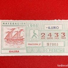Cupones ONCE: CUPÓN DE LA ONCE 4 DE JUNIO 1985 2433. Lote 264203780