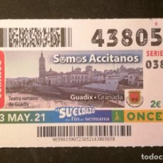 Billets ONCE: Nº 43805 (23/MAYO/2021)-GRANADA. Lote 267641109