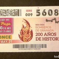 Billets ONCE: Nº 56081 (4/MAYO/2021)-GRANADA. Lote 267642319