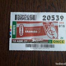 Cupones ONCE: CUPÓN ONCE 10-04-21, 90 ANIVERSARIO GRANDA C.F. FUTBOL.. Lote 267853334