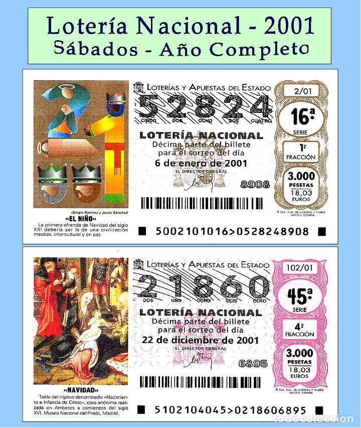 2001 - LOTERÍA NACIONAL / TODOS LOS SORTEOS DE LOS SÁBADOS AÑO COMPLETO / BUENA CALIDAD (Coleccionismo - Lotería - Cupones ONCE)