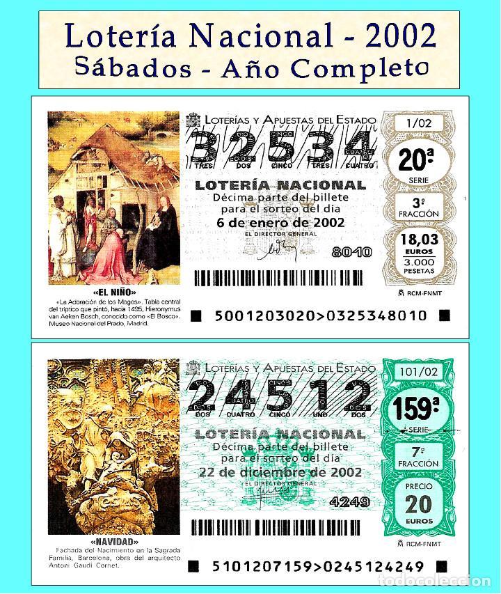 2002 - LOTERÍA NACIONAL / TODOS LOS SORTEOS DE LOS SÁBADOS AÑO COMPLETO / BUENA CALIDAD (Coleccionismo - Lotería - Cupones ONCE)