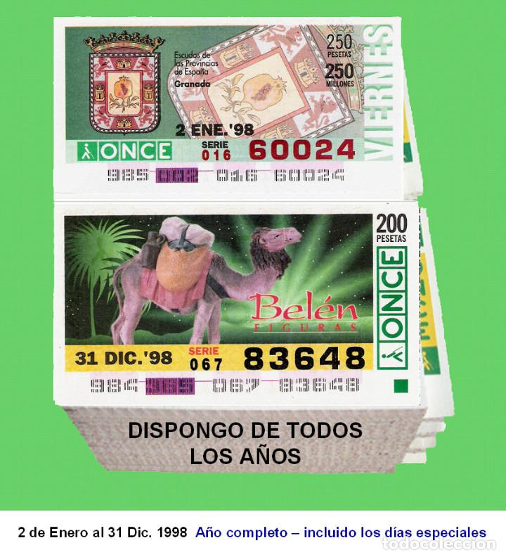 1998 - CUPONES DE LA ONCE / AÑO COMPLETO INCLUIDO LOS SORTEOS ESPECIALES / BUENA CALIDAD (Coleccionismo - Lotería - Cupones ONCE)