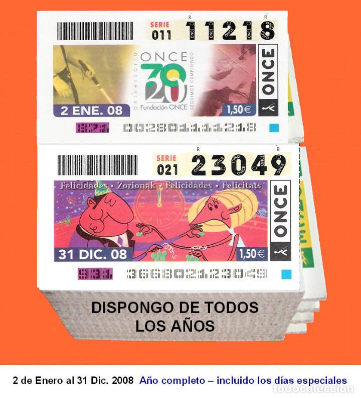 2008 - CUPONES DE LA ONCE / AÑO COMPLETO INCLUIDO LOS SORTEOS ESPECIALES / BUENA CALIDAD (Coleccionismo - Lotería - Cupones ONCE)